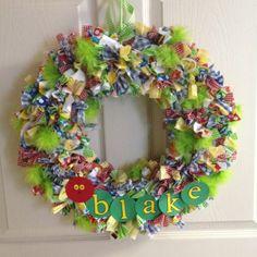 Very hungry caterpillar wreath my mom made for Baby Blake's hospital door.