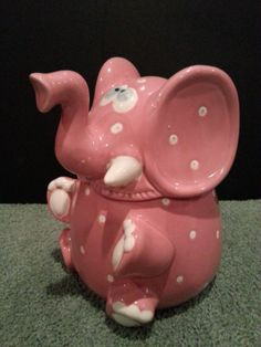 RARE Cute Pink with White Polka Dots Elephant Cookie Jar | eBay