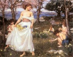 A Song of Springtime: 1913 by John William Waterhouse (Unknown Owner/Private Collection - Location Unknown) Pre-Raphaelite John William Waterhouse, Charles Edward, Pre Raphaelite Paintings, John Everett Millais, Lawrence Alma Tadema, Pre Raphaelite Brotherhood, Images Vintage, English Artists, Oil Painting Reproductions