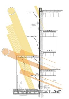 Tanzakademie Environmental strategy diagram I believe this diagram is successful because it shows how the light and heat can be inserted into the building and the impact it has. Environmental Architecture, Study Architecture, Environmental Design, Facade Architecture, Sustainable Architecture, Architecture Sketches, Architecture Diagrams, Residential Architecture, Contemporary Architecture