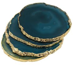 Amazon.com | Gold Plated Agate Coasters Set of 4 (Black) with Deluxe Gift Box: Coasters