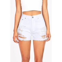 Pink Ice Devoid High Waist Denim Shorts ($35) ❤ liked on Polyvore featuring shorts, white, white shorts, distressed denim shorts, ripped jean shorts, pink high waisted shorts and high-waisted shorts