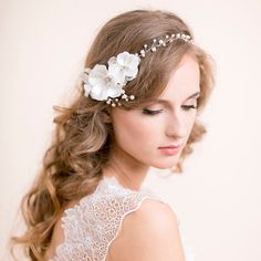 Wedding Hair Vine with Blossoms  Floral Pearl Vine  by Florentes