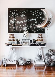 Monochrome space themed 3year old party - amazing!