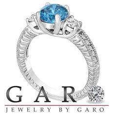 Fancy Blue & White Diamond Three Stone Engagement by JewelryByGaro, $3250.00