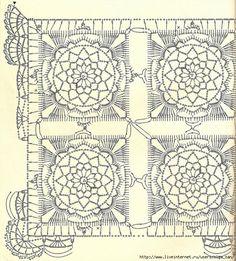 Meravigliosa copertina per bimbi all'uncinetto composta da piastrelle che unite tra loro formano un motivo di fiore,  fonte:http://www.liveinternet.r