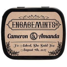 Vintage Personalized Engagement Party Favor Mint Tins, these would be good to hand out as engagement party favors for a rustic wedding!