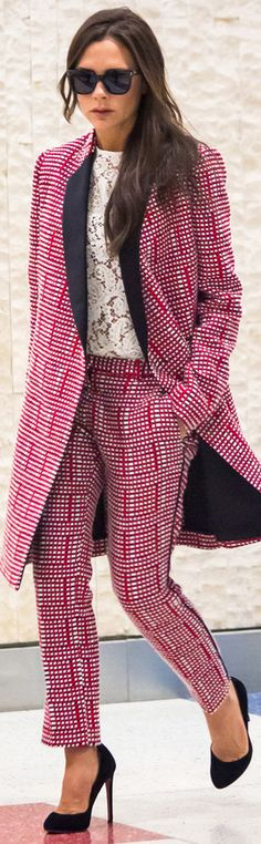Victoria Beckham wearing one of her designs