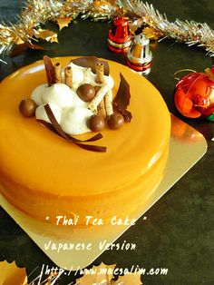 A Fusion Cake . bake from thai tea. Not just a cake but it's japanese decoration style. Tea Cakes, Cupcake Cakes, Cupcakes, Japanese Decoration, Thai Milk Tea, Thai Dessert, Cold Meals, Cooking Ideas, Chocolate Cake