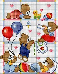 Bebê Cross Stitch For Kids, Cross Stitch Bird, Cross Stitch Designs, Cross Stitching, Cross Stitch Embroidery, Cross Stitch Patterns, Crochet Art, C2c Crochet, Crochet Diagram