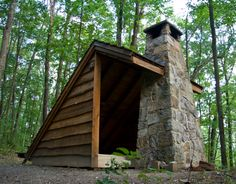 ExceptionalAdirondack lean-towith field stone...