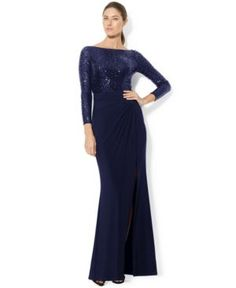 Lauren Ralph Lauren Long-Sleeve Sequined Gown  - Lighthouse Navy/Shine 14