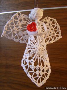 Handmade by Ecola & Dana Art - Aniołki 2015 Beach Cottage Style, Thread Crochet, Nativity, Snowflakes, Crochet Earrings, Pattern, Christmas, Handmade, Diy