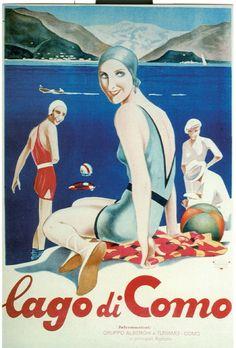 Poster su legno: Lago di Como vintage #illustration
