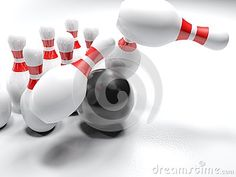 A black glossy bowling bowl is striking the white, red-striped, pins, on white background - 3D rendering illustration