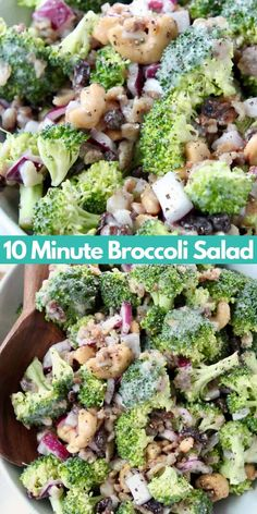 What if I told you that it only takes 10 minutes to whip up THE BEST Broccoli Salad ever?! That's right, this delicious broccoli salad with bacon, raisins and cashews is so easy to make and everyone at your next BBQ or party will go crazy for this recipe! If you've ever had Joan's Broccoli Madness at Sweet Tomatoes, then you're going to love this copycat recipe! For a quick and easy shortcut, I toss the salad in my favorite creamy Coleslaw dressing. It's sweet, salty, crunchy & SO EASY to… Broccoli Salad With Raisins, Best Broccoli Salad Recipe, Healthy Broccoli Salad, Salad Recipes, Broccoli Raisin Salad, Creamy Coleslaw Dressing, Vegetarian Recipes, Healthy Recipes, Simple Recipes