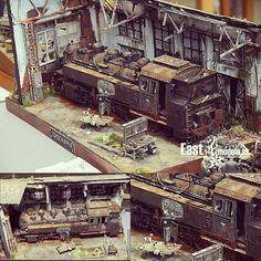 Beautiful train diorama at Moson model show 2015. Modeler Torgeir Fosshaug #scalemodel #plastimodelismo #miniatura #hobby #diorama #train #trem #usinadoskits #udk #miniature #hobby