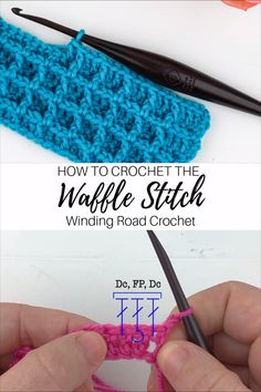 Learn to crochet the waffle stitch with these clear video and photo tutorials by Winding Road Crochet. Learn to make the Crochet Waffle Stitch using this video and photo tutorial. The waffle stitch is a beautifuly textured crochet stitch. Crochet Stitches Patterns, Crochet Designs, Knitting Patterns, Crochet Symbols, Crochet Dishcloths Free Patterns, Crochet Shell Pattern, Types Of Knitting Stitches, Different Crochet Stitches, Tunisian Crochet Stitches
