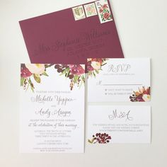 Marsala Wedding Invitation Floral Burgundy by ohmydesignsbySteph