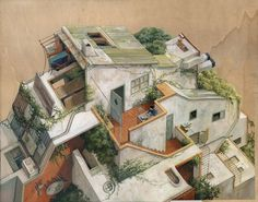 Architectural Paintings Visualize The Many Distinct Worlds Our Minds  Occupy. Gravitant / Cinta Vidal Agulló ...