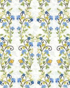 Marianna - Tiny Creeping Vines - Dutch Blue