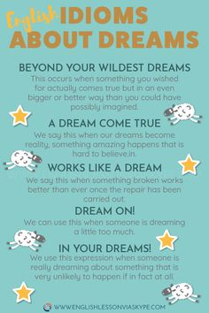 Here you will learn popular English Idioms related to dreams. Beyond your wildest dreams. In your dreams meaning. English Idioms related to Dreams. English Writing Skills, Learn English Grammar, English Vocabulary Words, Learn English Words, English Phrases, English Idioms, English Language Learning, English Lessons, Teaching English