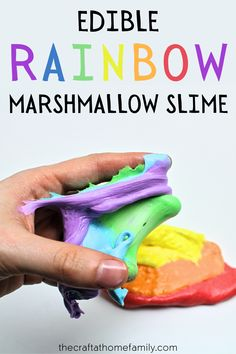 It may be hard to believe, but this colourful marshmallow slime is made using nothing but edible ingredients! It's super smooth, super stretchy—and lots of fun to play with. Plus, because it's taste-safe, you can give it to babies, toddlers and younger kids without having to worry! Follow this edible slime recipe for kids to find out how to make this easy DIY marshmallow slime that's perfect for Saint Patrick's Day or to celebrate the arrival of summer! Your kids will love this rainbow slime! Science For Toddlers, Fun Activities For Toddlers, Slime For Kids, Printable Activities For Kids, Fun Crafts For Kids, Toddler Crafts, Science Ideas, Activity Ideas, Therapy Activities