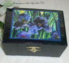 Wood Trinket Box Blue Iris Garden Embellished by MarieADawson,