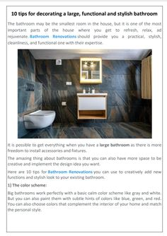 Do you want to know 10 tips for bathroom renovations? 10 tips for Bathroom Renovations like The color scheme, Place Functional accessories, Bathroom vanity sets, Seating area, Proper lighting, Decorative materials, Mirrors, Add Plants and flowers, Enough storage space & Install natural colors for furniture and cabinets #BathroomRenovations #BathroomRenovationsAuckland Large Bathrooms, Natural Colors, Color Tile, Cabinet Colors, Large Windows, Vanity Set, Bathroom Renovations, Auckland, Natural Living