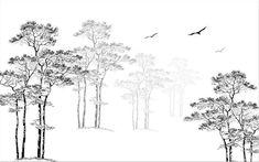 Custom Wallpaper Home Decorative Mural Black & White Sketch Abstract Tree Flying Bird TV Background Black And White Tree, Black And White Abstract, Nursery Wall Stickers, Kids Wall Decals, Custom Wallpaper, Of Wallpaper, Tv Background, Wall Murals, Wall Art