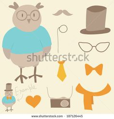 Funny hipster constructor. Cartoon owl and hipster elements. - stock vector
