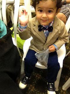 Toddler boy's Khaki blazer. Bow tie. Plaid dress shirt. Saddle toddler shoes. TCP
