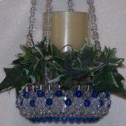 TheBeadLadi -  Crystal and Royal Blue Bead and Safety Pin Hanging Basket $19.99