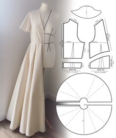 Learn how to draft the pattern for this flared long dress Skirt Patterns Sewing, Sewing Patterns Free, Clothing Patterns, Patterns For Dresses, Sewing Designs, Skirt Sewing, Vintage Dress Patterns, Crochet Patterns, Fashion Sewing