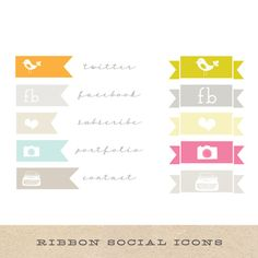 Ribbons for social icons and info.  No so vintage feeling but like the idea with a more modern feel