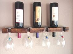 Wall Wine Rack   3 Bottles and 4 Glasses complements any wall and adds character to your bar space.  https://www.etsy.com/listing/199470693/wall-wine-rack-wood-wine-racks-3-bottle?ref=shop_home_active_25
