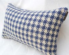 Houndstooth Lumbar Pillow in Blue and  Cream by PillowThrowDecor, $29.00