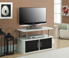 "TV Cabinet Stand Entertainment Media Center Storage Den Bedroom White Black 36"" #CCInc #Contemporary"