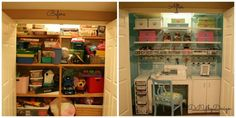 craft sewing closet, craft rooms, Before and After