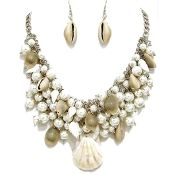 Silver Pearl Sea Shell Necklace Set Chunky Elegant Jewelry