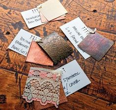 create texture on metal samples/Helen Driggs, from The Jewelry Maker's Field Guide