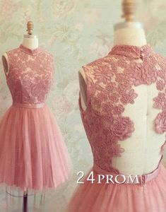 A-line Lace Tulle Short Prom Dresses,Homecoming Dresses – 24prom #prom #promdress #homecoming #evening #lacedress