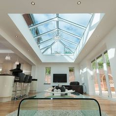 Aluminium roof lantern, skylight and flat roof skylight are all terms used to describe a glazed structure constructed within a flat roof system. Orangery Extension Kitchen, Orangerie Extension, Kitchen Orangery, Kitchen Diner Extension, Kitchen Extension With Glass Roof, Glass Extension, Garden Room Extensions, House Extensions, Kitchen Extensions