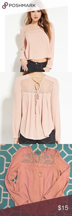 Beautiful High-Low Lace-Up Top Beautiful never worn long-sleeved woven 'high-low' top complete with a floral lace-paneled, a lace-up back, scalloped trim, and buttoned cuffs. Excellent brand new condition! Forever 21 Tops Blouses