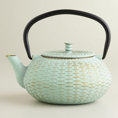 Aqua Cast Iron Basket Weave Tea Kettle | World Market