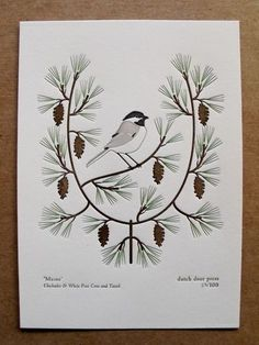"Maine (from birds and blooms of the 50 states)-$15  this limited edition print is part of our series, the ""birds and blooms of the 50 states"". this print features the state bird of maine, the chickadee, and the state flower, the white pine cone and tassel.    printed on 100% cotton printmaking paper on our chandler and price platen press    edition of 100    ink colors: pine, chocolate, grey and black    size is 5"" X 7""    perfect for framing or pillow or Xmas"