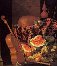 """Still Life with Musical Instruments and Fruit"" by Cristoforo Munari."