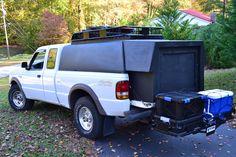 1997 Ford Ranger Homemade Camper Shell Extension Ford Ranger Camper, Homemade Camper, Camper Shells, Truck Camping, Jeep, Van, Trucks, Vehicles, Garage