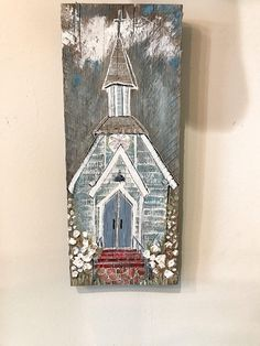 "This is a one of a kind original painting ""The Farmers Church"", hand-painted by Kelly Kaye Davidson. DESCRIPTION 'The Farmers Church'' is 5 1/2 x 13 in. It is painted on rustic barn wood. It has a wire on the back for easy hanging, and also looks great propped up on a shelf. This is"