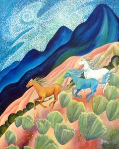 The Wild Hills by Sally Bartos, New Mexico artist. Her work is available from bartos on Etsy.